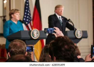 Washington, DC – March 17, 2017: German Chancellor Angela Merkel and US President Donald Trump hold a joint press conference at the White House after their first in-person meeting.