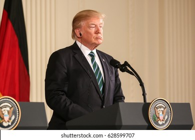 Washington, DC – March 17, 2017: US President Donald Trump hold a joint press conference with German Chancellor Angela Merkel at the White House after their first in-person meeting.