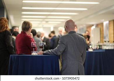 Washington, DC - March 17, 2018: People mingle at a free networking event in the city.