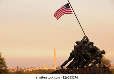 WASHINGTON, DC - MARCH 20: Iwo Jima Memorial in Washington, DC on March 20, 2012. The Memorial honors the Marines who have died defending the US since 1775.