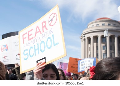 Washington, DC, March 24, 2018: March for Our Lives Protester With Sign