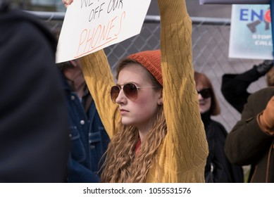Washington, DC, March 24, 2018: March for Our Lives Protester Holding Sign