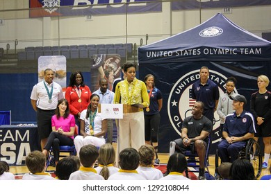 Washington, DC - March 4, 2012: Children competed in a mini-Olympics competition hosted by Michelle Obama and Samantha Cameron at American University promote the Obamas' Let's Move! initiative.
