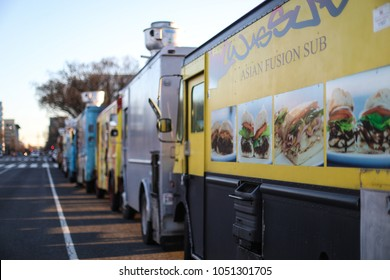 Washington, DC - March 4, 2018: An Asian Fusion Sub food truck sells sandwiches on the National Mall.