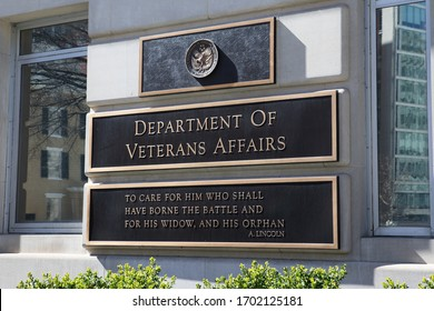 WASHINGTON, DC - MARCH 7, 2020: Signage at Department of Veterans Affairs Headquarters. It includes a quote by President Lincoln about caring for him wounded in battle and his widow and his orphan.