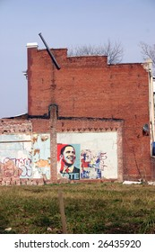 WASHINGTON, DC, MARCH 7 : Shepard Fairey inspired Obama poster remains posted months after the historic election in Washington, DC on March 7, 2009.