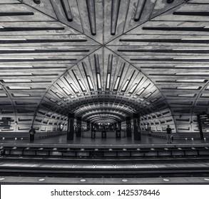 Washington DC, Maryland / United States of America - April 30 2018 : Washington DC metro station in rush hour.