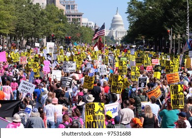 WASHINGTON, DC - A mass of anti-war protestors march down Pennsylvania Ave. toward the Capitol Building in Washington, DC on September 15, 2007, demonstrating against the Iraq War.