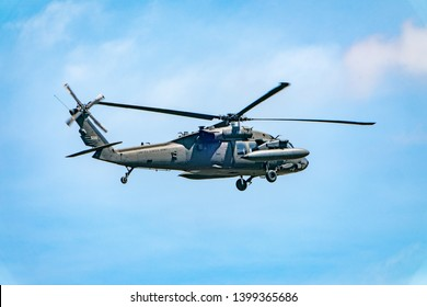 Washington DC, May 10, 2019. Blackhawk helicopter with external fuel tanks.