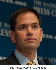 WASHINGTON, DC - MAY 13, 2014: Senator Marco Rubio, first-term Republican from Florida and potential Republican presidential candidate speaks at a luncheon at the National Press Club
