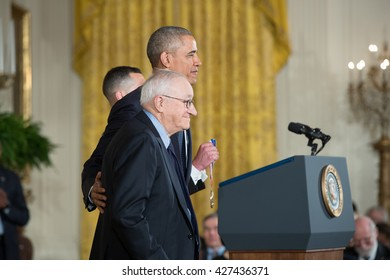 WASHINGTON, D.C. - MAY 19: President Obama awards Dr. Albert Bandura on May 19, 2016 in Washington, D.C. The ceremony recognized the contributions of 17 top scientists, engineers, and inventors.