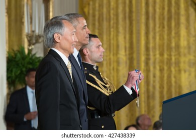 WASHINGTON, D.C. - MAY 19: President Obama awards Dr. Chenming Hu on May 19, 2016 in Washington, D.C. The ceremony recognized the contributions of 17 top scientists, engineers, and inventors.