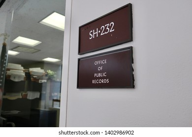 WASHINGTON, DC - MAY 20, 2019: US SENATE HART BUILDING - office of public records - entrance sign