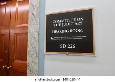 WASHINGTON, DC - MAY 20, 2019: US SENATE COMMITTEE ON THE JUDICIARY HEARING ROOM SD 226 -  entrance sign