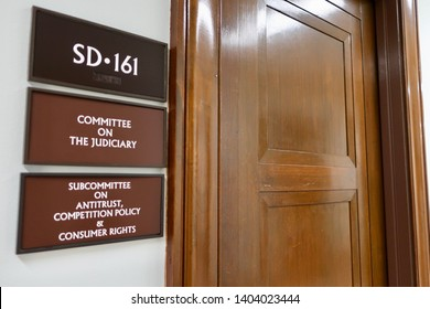 WASHINGTON, DC - MAY 20, 2019: US SENATE COMMITTEE ON THE JUDICIARY - SUBCOMMITTEE ON ANTITRUST COMPETITION POLICY CONSUMER RIGHTS SD 161- office entrance sign
