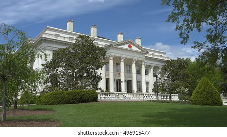 WASHINGTON, DC - MAY, 2014: American Red Cross National Headquarters building is dedicated to women who served in American Civil war, as inscribed above portico.