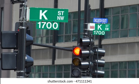 WASHINGTON, DC - MAY 2016: Street sign of Infamous K Street in Washington, DC, legendary home to lobbyists (although now K St, is mostly symbolic).