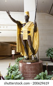 WASHINGTON D.C. - MAY 23 2014: Statue of King Kamehameha I in the Library of Congress in Washington D.C..A great leader, Kamehameha  united the Hawaiian Islands into one royal kingdom in 1810