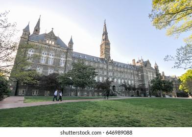Washington, DC - May 24, 2017: Georgetown University main building in Washington DC - United States