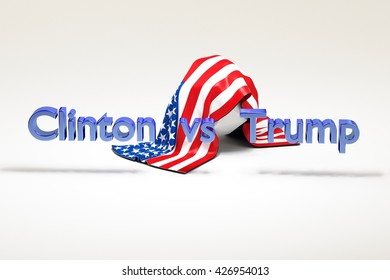 WASHINGTON, DC - MAY 26, 2016: Illustration of presidential campaign of Hillary Clinton vs Donald Trump running for the president's office.  Symbolize their potential duel. 3D Rendering. With US flag.