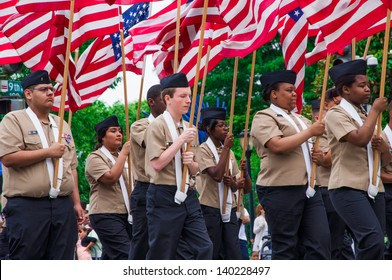 WASHINGTON, D.C. - MAY 27, 2013: Participants of Memorial Day Parade move on the street on May 27, 2013, in Washington, D.C.