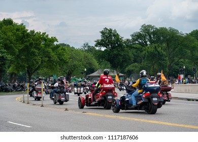 Washington DC May 28, 2017: Rolling Thunder XXX1 - Participant wearing a Kaepernick shirt as they go around Lincoln Memorial Circle