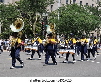 WASHINGTON, D.C. - MAY 31:  Ballou High School Marching Band May 31, 2010 in the National Memorial Day Parade in Washington, D.C.