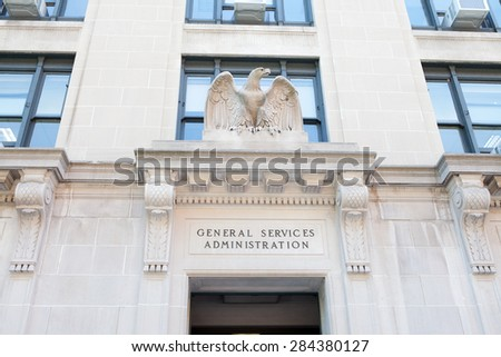 WASHINGTON, DC - MAY 4: Entrance to the General Services Administration (GSA) in Washington, DC on May 4, 2015. GSA is responsible to oversee the business of the U.S. federal government.