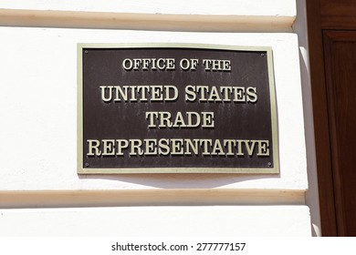 WASHINGTON, DC - MAY 4: Plaque outside the Office of the United States Trade Representative in downtown Washington, DC on May 4, 2015.