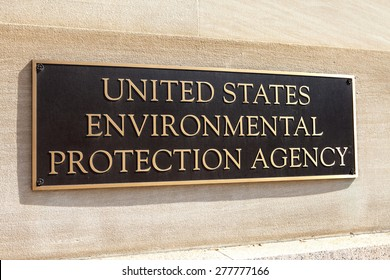 WASHINGTON, DC - MAY 4: Plaque outside the United States Environmental Protection Agency (EPA) in downtown Washington, DC on May 4, 2015.