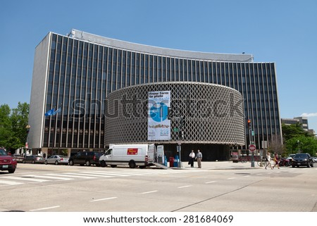 WASHINGTON, DC - MAY 4: World Health Organization Headquarters in Washington, DC on May 4, 2015. Their primary role is to direct and coordinate international health within the United Nations' system.