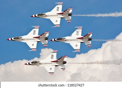 WASHINGTON DC - MAY 8:USAF Thunderbirds F-16 showing precision of formation flying during the airshow on May 8, 2012. Squadron was formatted on May 25, 1953. Currently they are based at Nellis AFB.