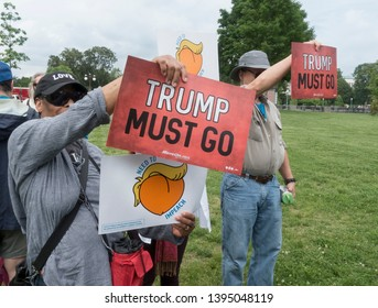 WASHINGTON, DC - MAY 9. 2019:  Supporters at press conference where petition of 10 million signatures  calling for the House to begin impeachment proceedings against President Trump was presented.