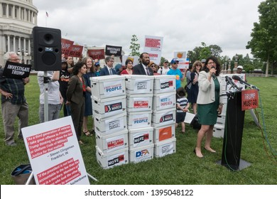 WASHINGTON, DC - MAY 9. 2019: Rep. Rashida Tlaib speaks at press conference where petition of 10 million signatures  calling for the House to begin impeachment proceedings against  Trump was presented