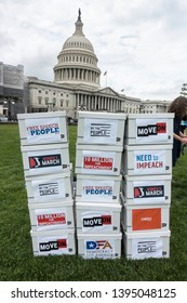 WASHINGTON, DC - MAY 9. 2019: Press conference where petition of 10 million signatures  calling for the House to begin impeachment proceedings against President Trump was presented.