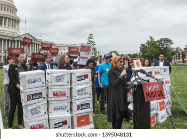WASHINGTON, DC - MAY 9. 2019: Linda Sarsour at press conference where petition of 10 million signatures calling for the House to begin impeachment proceedings against President Trump was presented.