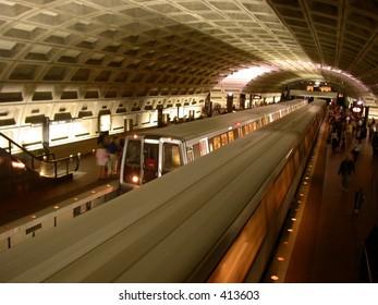 washington DC metro system transportation underground subway rush hour