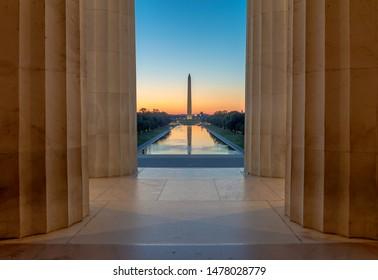 Washington DC Washington Monument sunrise early morning
