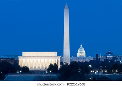 Washington DC monuments at dusk, Lincoln Memorial, Washington Monument, The Capitol Building