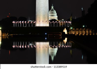 Washington DC, National Mall night scene including World War II Memorial, the Monument and Capitol Building