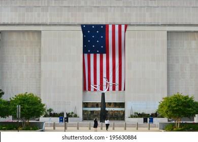 Washington D.C. -  National Museum of American History main entrance with huge U.S. Flag
