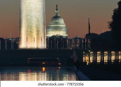 Washington D.C. - Night at Lincoln Memorial with a view of US Capitol Building and Washington Monument