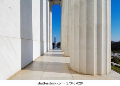 WASHINGTON DC - NOV 29: The Lincoln Memorial on Nov 29, 2013 in Washington DC, USA. It is an American national monument built to honor the 16th President of the United States, Abraham Lincoln.