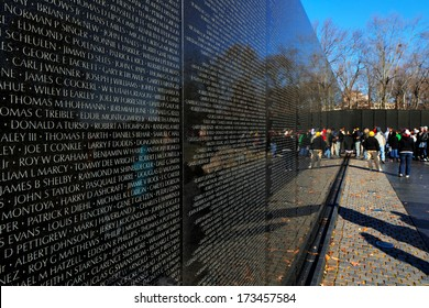 WASHINGTON DC - NOV 29: The Vietnam Veterans Memorial on Nov 29, 2013 in Washington DC, USA. It honors U.S. service members of the U.S. armed forces who fought in the Vietnam War.