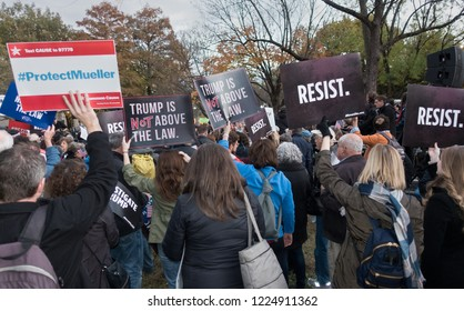 WASHINGTON, DC - NOV 8, 2018: Demonstrators protesting Pres.Trump's appointing Matthew Whitaker acting attorney general as attempt to end Mueller investigation; White House, part of national protest