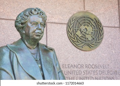WASHINGTON, DC - NOVEMBER 10, 2017 The Eleanor Roosevelt sculpture in West Potomac Park honors the former First Lady and highlights her role as the first United States Delegate to the United Nations.