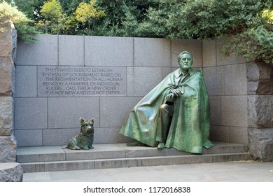 WASHINGTON, DC - NOVEMBER 10, 2017: The Franklin Delano Roosevelt sculpture in West Potomac Park honors the former President of the United States and includes his Scottish Terrier, Fala.