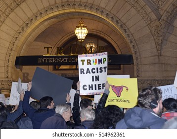 WASHINGTON DC NOVEMBER 10th, 2016. While Donald Trump won the Presidential Election, many people, particularly leftists, are unable to accept the results and engage in protests in several cities.