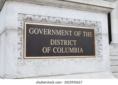 WASHINGTON, DC - NOVEMBER 11, 2017: Plaque for the Government of the District of Columbia at the John A. Wilson Building in Washington, DC.