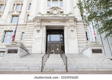 WASHINGTON, DC - NOVEMBER 11, 2017: The John A. Wilson District Building in Washington, DC. The building is home to the Executive Office of the Mayor and the Council of the District of Columbia.